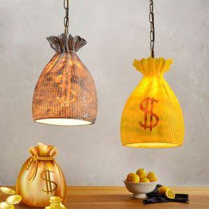 Luci a forma di borsa della borsa dei soldi della resina nordica per soggiorno bar ristorante studio lampada a sospensione d'epoca loft led apparecchi di illuminazione