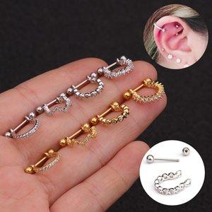 Новые серьги из нержавеющей стали с микро инкрустацией серьги с цирконом мягких Earbone ногтей для прокалывания ушей человеческого тела