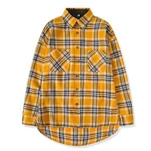 New Hip Hop Men's Shirts High Street Long Sleeved Plaid Men Women Shirts Oversized Dress Shirt Yellow