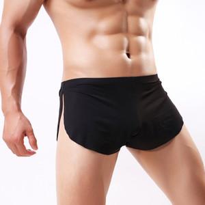 Ice Silk Men Boxer Shorts Comfortable Split Underpants Sexy Ultra-thin See Through Briefs Casual Night Elastic Waist Underwear