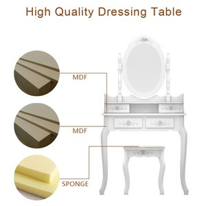 Makeup Table Modern Concise 4-Drawer 360-Degree Rotation Removable Mirror Dresser Dressing table White rganization Drawers Set