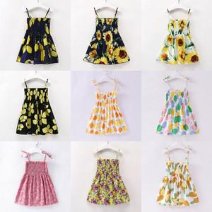 Vêtements enfants filles citron Floral enfants robe de cerise Sling Fleurs princesse robes été Boutique bébé Vêtements Z0291