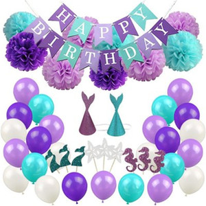 Bandiere a tema sirena Party Decorare Set Palloncino per torta Cartoon Cartone animato Cappello da bambino Banner fiore viola Baby Shower 41hn