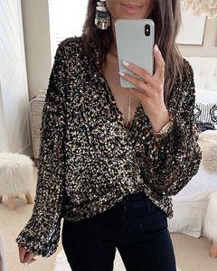Ninimour Women Elegant Fashion Glitter Plunge Long Sleeve Sequins Blouse Ladies Casual Outwear Officewear Tops
