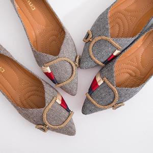 Para mujer de los holgazanes de viajes Prom Pisos las mujeres del diseñador deslizadores de las sandalias de lujo del Rhinestone de la hebilla del metal zapatillas de ballet del tamaño grande de Q-160