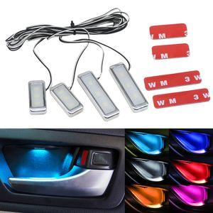 4шт / комплект LED Ambient Атмосфера автомобиля Стиль интерьера Внутренняя дверь Чаша ручки подлокотника свет двери автомобиля Внутреннее освещение Декоративные лампы
