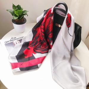 Women Ladies Fashion High Quality Designer Luxury Spring Real Silk Satin Scarf Muffler Sailing Printing Square Shawl With labels 180 *90 cm