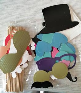 Hot Início festiva conjunto de eventos de 44 Photo Booth Prop Bigode Eye Glasses Lips em uma vara Fotografia Máscara da festa de casamento engraçado