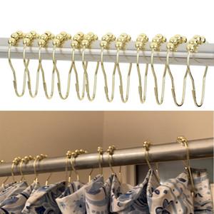 12 Teile / satz Elegante Gold Duschvorhang Haken Rolling Ball Ringe Rostfrei Duschvorhang Haken Home Bad Wesentliche Haken