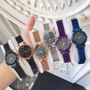 Vendas de comércio exterior Moda Mulheres Se Vestem Relógio Relojes De Marca Mujer Marca Milan cinto Senhora de Luxo relógio de Pulso de Quartzo Ímã de Ouro Rosa fivela