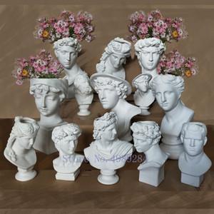 Creativa Resina imitación yeso florero David accesorios disposición de cabezal escultura florero Apolo Venus decoraciones caseras SH190925