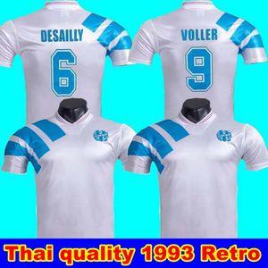 1993 Olympique Marseille Retro Gedenken Fußball-Hemd DESCHAMPS PAPIN BOLI DESAILLY Fußball-Trikot VOLLER 25 120 Jahre Fußball Jersey