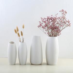 Новый Европейский Простой Белый Керамическая Ваза Цветок Современный Простой Нордический Дома Вставки ВАЗ Творческие Дома Гостиная Украшения T200624