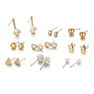 9шт / Set серьги Циркон Кристалл персик сердца Triangle Алмазный моды европейских и ювелирных изделий американских женщин