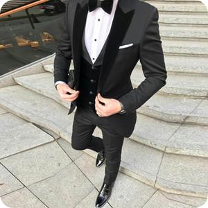 Peaked Designs Black Suits for Men's Wedding Velvet Vest Groom Tuxedos Classic Terno Masculino Slim Fit Costume Homme 3Piece
