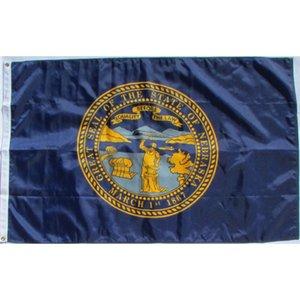 Nebraska State Flag 3x5FT Polyester Impression intérieure Outdoor Hanging vente chaud Drapeau national laiton Œillets gratuit Shippin