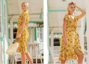 Kadın Yaz elbiseler Çiçek Baskılı Plaj bohem sahil tatil Asimetrik gündelik Elbise laides Seksi parti elbise Artı Boyutu Vestidos sıcak