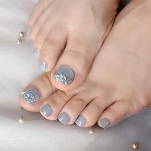 الرخام ساحة كريستال جل أصابع الأظافر الماس حجر رمادي أقدام نمط تصميم الأظافر لامعة اضغط على مسمار النصائح