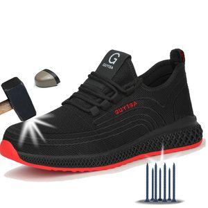 Zapatos Manlegu Aire malla de acero del dedo del pie zapatos de trabajo transpirable de funcionamiento del hombre de seguridad a prueba de pinchazos Ligera Botas de seguridad Dropshipping