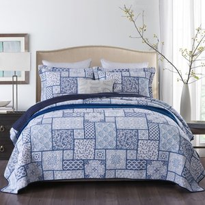 CHAUSUB Plain Print Bedspread Cotton Quilt Set 3PCS Quilted Bedding Bed Cover Pillow Case King Queen Size Coverlet Sets