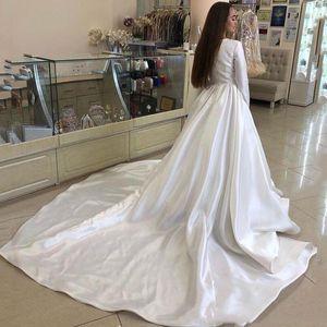 2020 Vintage Long Sleeves A Line Wedding Dresses With Satin Floor Length Jewel Plus Size Wedding Bridal Gowns vestidos de novia