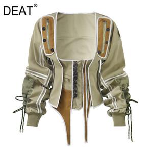 DEAT 2019 новый летний сезон Западный стиль Белый рукавов платье Женщина выше колен и квадратный воротник drawsrting талии куртки WF1830