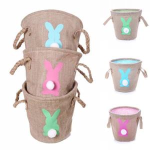 Easter Basket белье Дважды Ручка зайчик корзины Дети джута Easter Bucket Розовый Зеленый Синий Кролик пасхальный сумка для хранения
