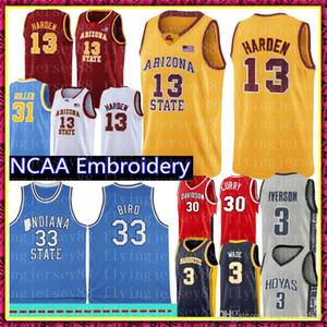 NCAA James Harden 13 Jersey de la universidad Larry Bird 33 del estado de Indiana Universidad jerseys del baloncesto Rojo Amarillo Blanco Azul