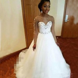 Plus Size Nós dding vestido de manga comprida Sheer Jewel Neck Glitter Cristais Vintage vestidos de casamento africano Sweep Trem robe de mariee