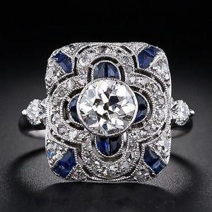 Mode Géométrique Carré Bleu Zircon Fleur Anneaux pour Femmes De Luxe Bagues De Fiançailles De Mariée Banquet Bijoux Cadeaux anillos