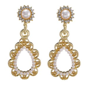 Vintage Alloy Stud Earrings Women's Fashion Gold Color Imitation Pearl Earrings 2020 New Wedding Party Jewelry Factory Wholesale