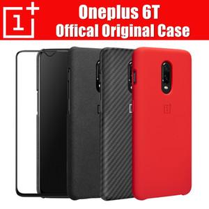 Großhandel 6t Fall original 100% offizielle Oneplus Schutzhülle Silikon / Sandstein / Carbon / Flip-Abdeckung für Oneplus 6t Coque