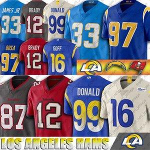 Los Angeles Jared Goff Ram chandails Nick Chargeur Bosa Tampa Bay Tom Brady Jersey Buccaneer Aaron Donald Rob Gronkowski Derwin James