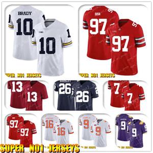 5-24 NCAA 10 Tom Brady Nick Bosa Ohio State Buckeyes College Football Jersey Derrick Henry Marcus Mariota Kevin Byard Adoree Jackson
