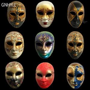 GNHYLL Carnaval masques vénitiens main face peinte à des adultes italiens Homme / masque de réseau femme décoration d'Halloween