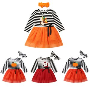 2019 Baby Spring Autumn Clothing Kids Toddler Baby Girl Long Sleeve Xmas Halloween Party Tulle Tutu Dress Striped Clothes 1-6T