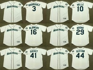 Seattle 3 ALEX RODRIGUEZ 10 DAVE VALLE 16 MIKE BLOWERS 29 BRETT BOONE 41 R.A. DICKEY 44 RICHIE SEXSON Mariners Baseball jersey