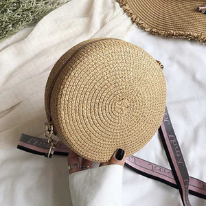 Women Handmade Hangbag Fashion Straw Weave Round Bag Small Summer Beach Travel Shoulder Bag Casual style Retro Cross Body