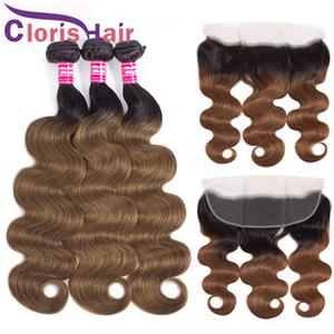 Цветные auburn Body Wave Ombre Weave 3 пакета с закрытием сырой девственницы Индийские человеческие волосы Hair Frontal с пучками T1B / 30 блондинка