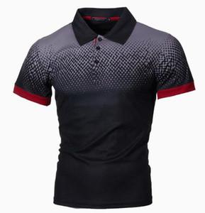 Luxury Mens Polos Shirts Designer Printed Gradient Slim Tee Casual Mens Short Sleeves Tops