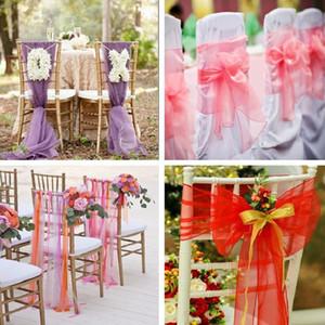 Organza Sash Bow Sash For Cover Banquete Wedding Party Event Chrismas Decoración Sheer Organza Fabric Fundas para sillas Fajas gratis DHL XD19882