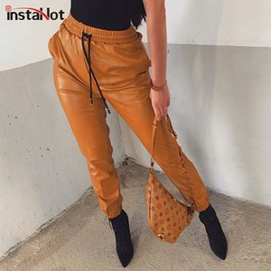 Pelle InstaHot Faux Harem elastico coulisse in vita Tapered Carota Pantalone High Street Pants Loose Women Vintage Y200418