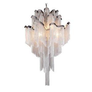 Ampliación de cadena pendiente de la lámpara de aluminio borla sencilla lámpara de araña posmoderna de accesorio de iluminación proyecto vestíbulo del hotel
