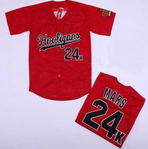 Shirt all'ingrosso Bruno Mars 24K Hooligans baseball rosso del pullover cucito film Bruno Mars 24K Hooligans baseball Jersey