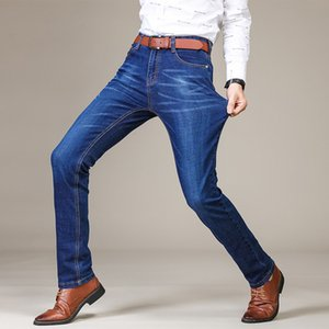 Mens Jeans Straight Pants Autumn and Winter Slim Micro-elastic Jeans Mens Business Trousers Mens Clothing 2 Colors