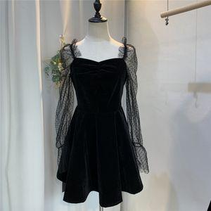 Annual Woman Dress Vento pizzo Piccolo Gonna nera sexy del velluto Piccolo pannello esterno pieno Dress