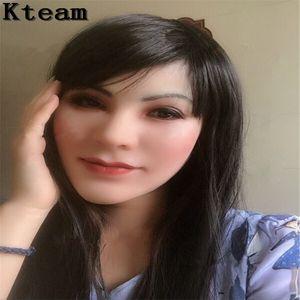 máscara de silicona de grado superior de la piel artificial puede realista máscara de látex cosplay atractivo para travesti crossdresser transexual masculino Drag Queen máscara de la cabeza