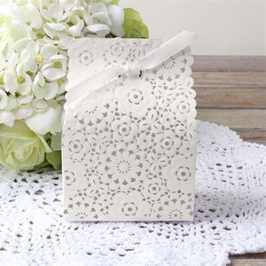 Flower Shaped Laser Cut Hollow Gift Bags Candy Boxes Ribbon Baby Shower Wedding Gift Box Favors Party Supplies CT0294