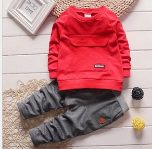 2020 spring and autumn children's suit boy's round neck children's wear two sets of big pocket manufacturer's direct selling one bag hair