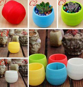 7 * 7cm Mini Saksılar Çok Renkler Yuvarlak Plastik Saksılar Kaçak Su Çapa Tasarım Sulu Bitkiler Bahçe Pot Sıcak Satış DHL Ücretsiz